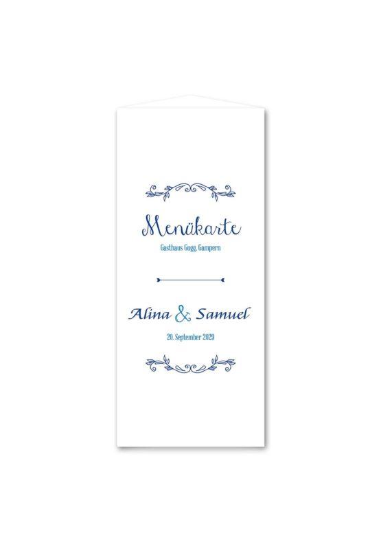 menükarte dreieck hochzeit ornamente vintage blau hochzeitsgrafik onlineshop papeterie
