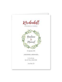 kirchenheft klappkarte hochzeit vintage blumenkranz rot grün hochzeitsgrafik onlineshop papeterie