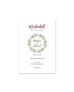 kirchenheft fächer hochzeit vintage blumenkranz rot grün hochzeitsgrafik onlineshop papeterie