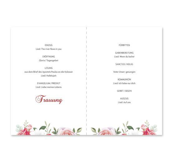 kirchenheft klappkarte hochzeit blumen rosen rosa pink grün vintage hochzeitsgrafik onlineshop papeterie