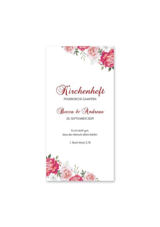 kirchenheft hochzeit blumen rosen rosa pink grün vintage hochzeitsgrafik onlineshop papeterie