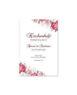 kirchenheft fächer hochzeit blumen rosen rosa pink grün vintage hochzeitsgrafik onlineshop papeterie