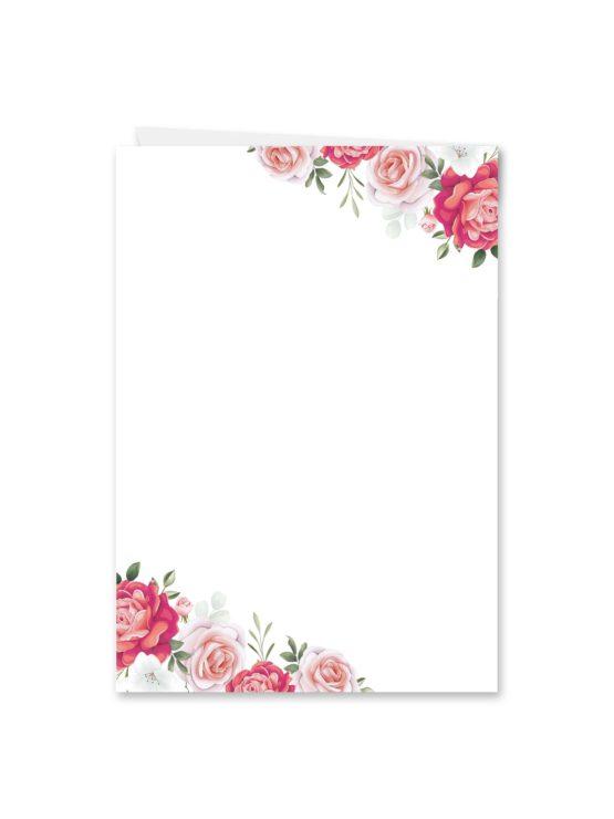 menükarte klappkarte hochzeit blumen rosen rosa pink grün vintage hochzeitsgrafik onlineshop papeterie