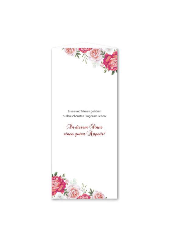 menükarte dreieck hochzeit blumen rosen rosa pink grün vintage hochzeitsgrafik onlineshop papeterie