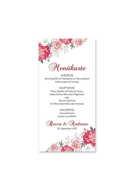 menükarte hochzeit blumen rosen rosa pink grün vintage hochzeitsgrafik onlineshop papeterie