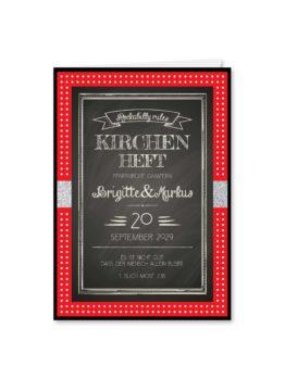 kirchenheft klappkarte hochzeit rockabilly rot schwarz weiß polka dots hochzeitsgrafik onlineshop papeterie