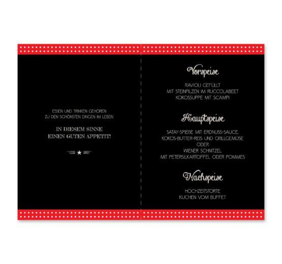 menükarte klappkarte hochzeit rockabilly rot schwarz weiß polka dots hochzeitsgrafik onlineshop papeterie