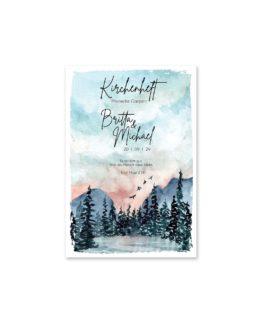 kirchenheft fächer hochzeit vintage landschaft aquarell winter blau rosa grau hochzeitsgrafik onlineshop papeterie