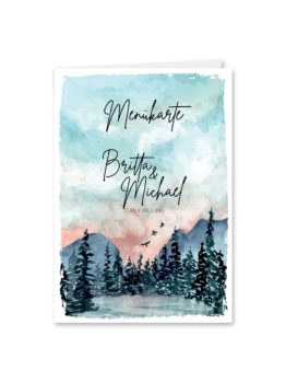 menükarte klappkarte hochzeit vintage landschaft aquarell winter blau rosa grau hochzeitsgrafik onlineshop papeterie