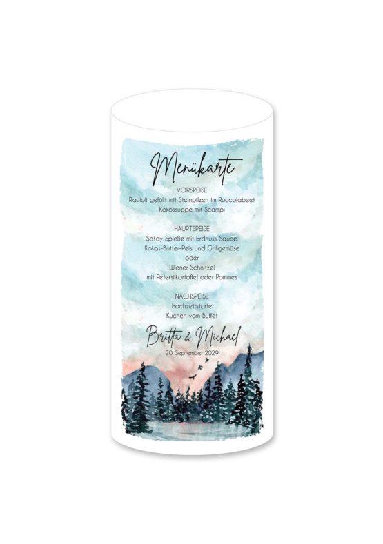 menükarte windlicht hochzeit vintage landschaft aquarell winter blau rosa grau hochzeitsgrafik onlineshop papeterie