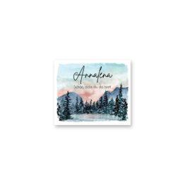 tischkarte hochzeit vintage landschaft aquarell winter blau rosa grau hochzeitsgrafik onlineshop papeterie
