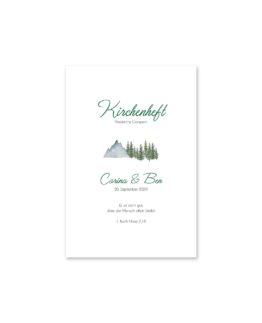 kirchenheft fächer hochzeit vintage landschaft berg berge baum bäume aquarell hochzeitsgrafik onlineshop papeterie