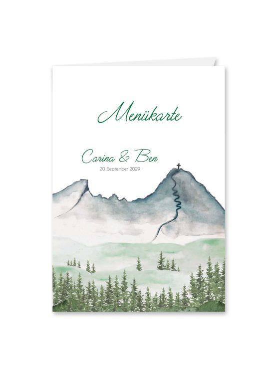 menükarte klappkarte hochzeit vintage landschaft berg berge baum bäume aquarell hochzeitsgrafik onlineshop papeterie