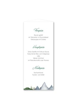 menükarte dreieck hochzeit vintage landschaft berg berge baum bäume aquarell hochzeitsgrafik onlineshop papeterie