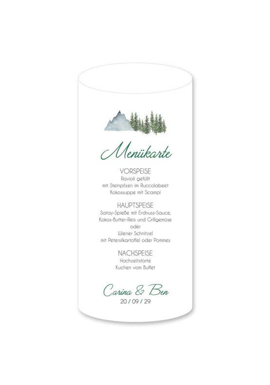 menükarte windlicht hochzeit vintage landschaft berg berge baum bäume aquarell hochzeitsgrafik onlineshop papeterie