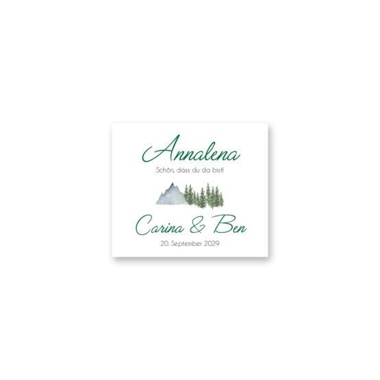 tischkarte hochzeit vintage landschaft berg berge baum bäume aquarell hochzeitsgrafik onlineshop papeterie