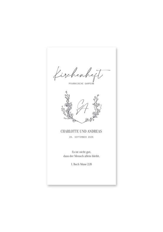 kirchenheft hochzeit vintage blumen logo monogram handdrawn malerei hochzeitsgrafik onlineshop papeterie