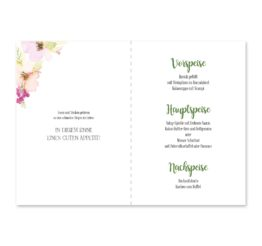 menükarte klappkarte hochzeit vintage blumen aquarell pastel hochzeitsgrafik onlineshop papeterie