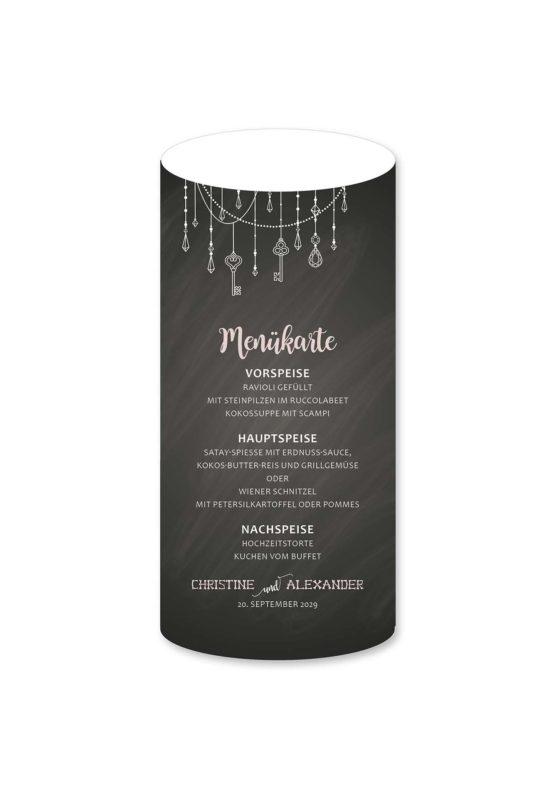 menükarte windlicht hochzeit vintage schlüssel chalkboard schwarz weiß skelett lichterketten luster hochzeitsgrafik onlineshop papeterie
