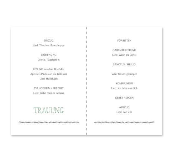 kirchenheft klappkarte hochzeit vintage blumenkranz grün greenery watercolor hochzeitsgrafik onlineshop papeterie