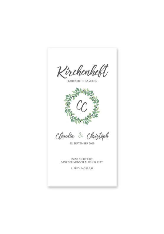 kirchenheft hochzeit vintage blumenkranz grün greenery watercolor hochzeitsgrafik onlineshop papeterie
