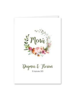 menükarte klappkarte hochzeit blumen kranz rosa orange grün vintage hochzeitsgrafik onlineshop papeterie
