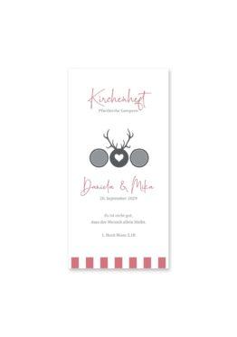 kirchenheft hochzeit vintage tracht hirsch rosa grau hochzeitsgrafik onlineshop papeterie