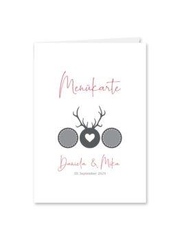 menükarte klappkarte hochzeit vintage tracht hirsch rosa grau hochzeitsgrafik onlineshop papeterie