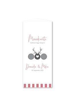 menükarte dreieck hochzeit vintage tracht hirsch rosa grau hochzeitsgrafik onlineshop papeterie