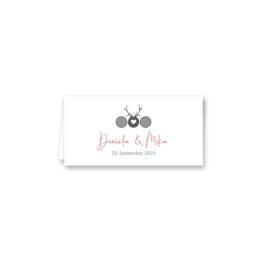 tischkarte klappkarte hochzeit vintage tracht hirsch rosa grau hochzeitsgrafik onlineshop papeterie
