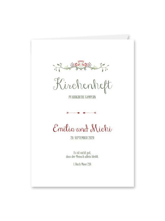 kirchenheft klappkarte hochzeit vintage ornament pfeil rot grün hochzeitsgrafik onlineshop papeterie