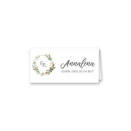 tischkarte klappkarte hochzeit vintage logo monogram blumen kranz greenery grün glitzer gold hochzeitsgrafik onlineshop papeterie