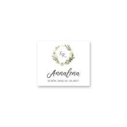 tischkarte hochzeit vintage logo monogram blumen kranz greenery grün glitzer gold hochzeitsgrafik onlineshop papeterie