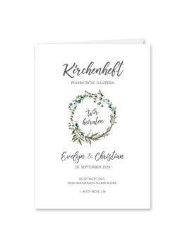 kirchenheft klappkarte hochzeit vintage blumen kranz greenery grün eucalyptus hochzeitsgrafik onlineshop papeterie