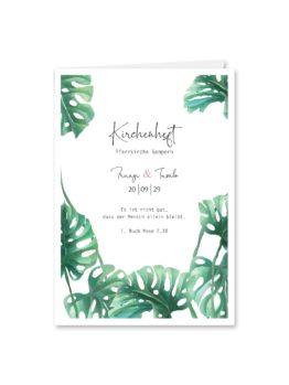 kirchenheft klappkarte hochzeit vintage palme palmenblatt monstera grün hochzeitsgrafik onlineshop papeterie