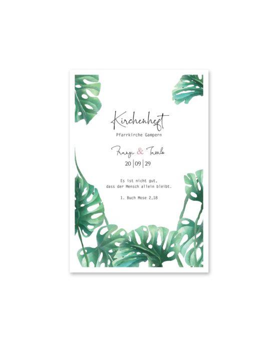 kirchenheft fächer hochzeit vintage palme palmenblatt monstera grün hochzeitsgrafik onlineshop papeterie