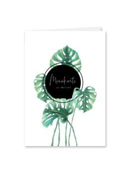 menükarte klappkarte hochzeit vintage palme palmenblatt monstera grün hochzeitsgrafik onlineshop papeterie