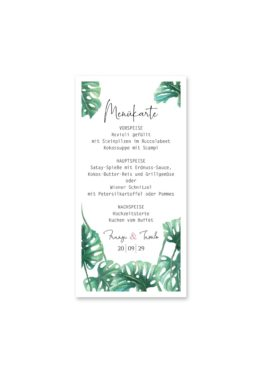 menükarte hochzeit vintage palme palmenblatt monstera grün hochzeitsgrafik onlineshop papeterie