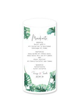 menükarte windlicht hochzeit vintage palme palmenblatt monstera grün hochzeitsgrafik onlineshop papeterie
