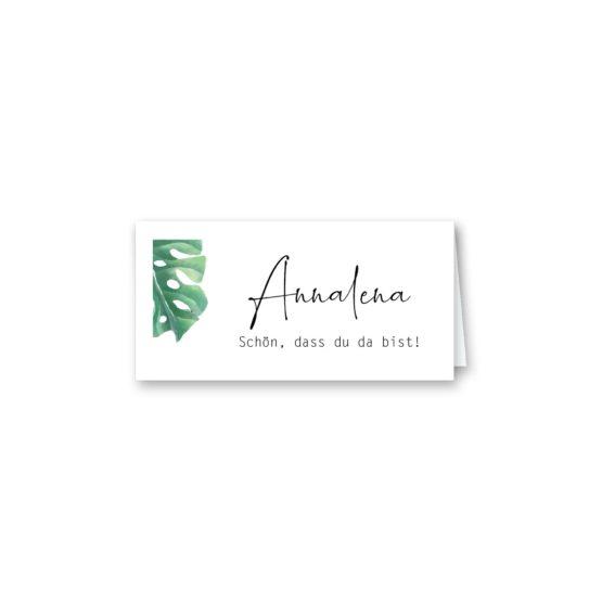 tischkarte klappkarte hochzeit vintage palme palmenblatt monstera grün hochzeitsgrafik onlineshop papeterie