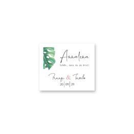 tischkarte hochzeit vintage palme palmenblatt monstera grün hochzeitsgrafik onlineshop papeterie