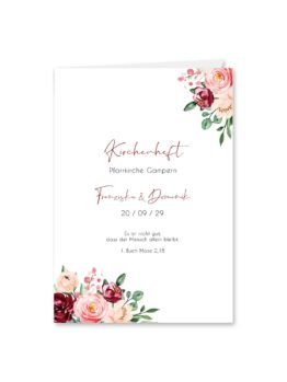 kirchenheft klappkarte hochzeit vintage blumen rosa pastel aquarell hochzeitsgrafik onlineshop papeterie