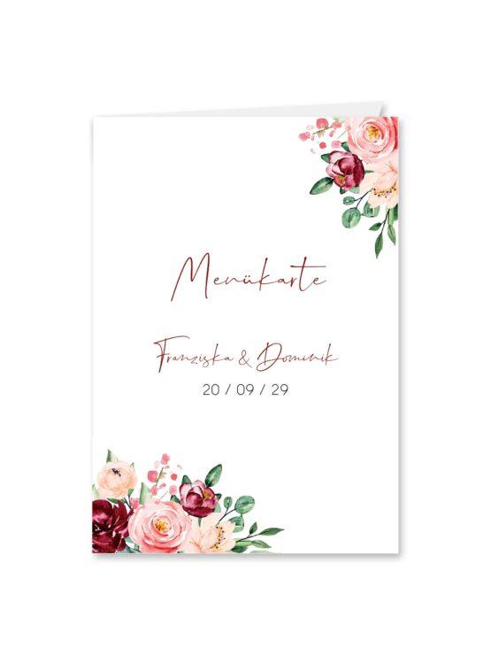 menükarte klappkarte hochzeit vintage blumen rosa pastel aquarell hochzeitsgrafik onlineshop papeterie