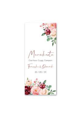 menükarte dreieck hochzeit vintage blumen rosa pastel aquarell hochzeitsgrafik onlineshop papeterie