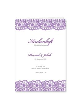 kirchenheft klappkarte hochzeit vintage spitze bordüre flieder lila hochzeitsgrafik onlineshop papeterie