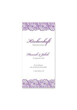 kirchenheft hochzeit vintage spitze bordüre flieder lila hochzeitsgrafik onlineshop papeterie