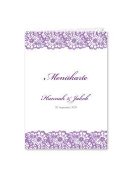 menükarte klappkarte hochzeit vintage spitze bordüre flieder lila hochzeitsgrafik onlineshop papeterie