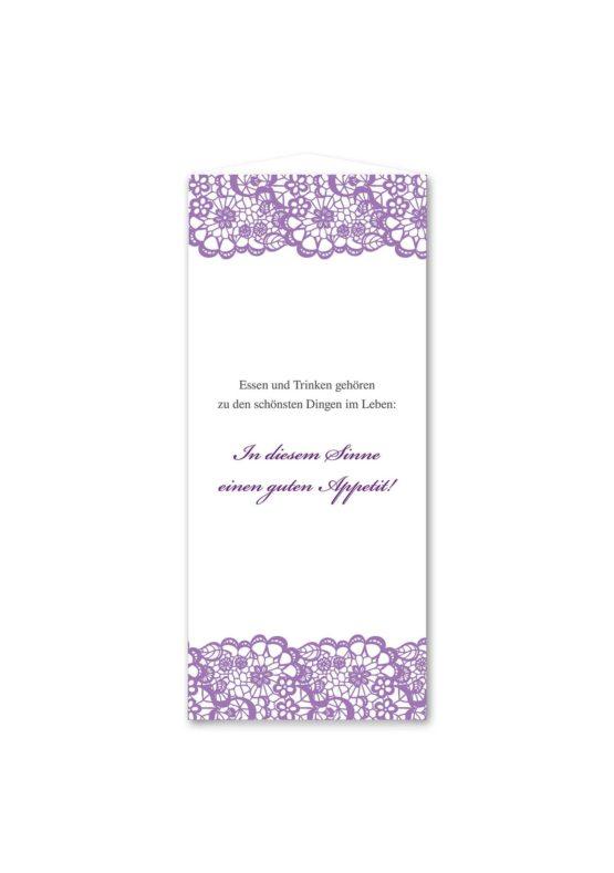 menükarte dreieck hochzeit vintage spitze bordüre flieder lila hochzeitsgrafik onlineshop papeterie