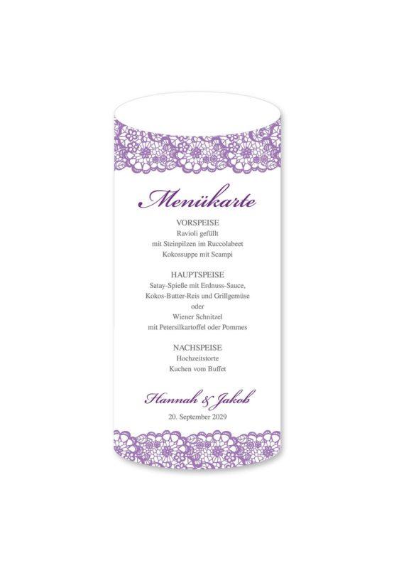 menükarte windlicht hochzeit vintage spitze bordüre flieder lila hochzeitsgrafik onlineshop papeterie