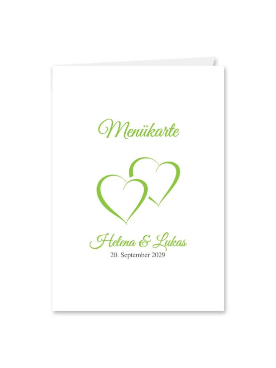 menükarte klappkarte hochzeit vintage herz herzen doppelherz liebe grün hochzeitsgrafik onlineshop papeterie
